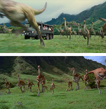 Top: <i>Jurassic World</i>; Bottom: <i>Jurassic Park</i>