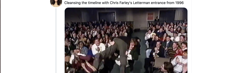 Chris Farley's Gloriously Frantic 1996 'David Letterman' Entrance Is Definitely A Mood