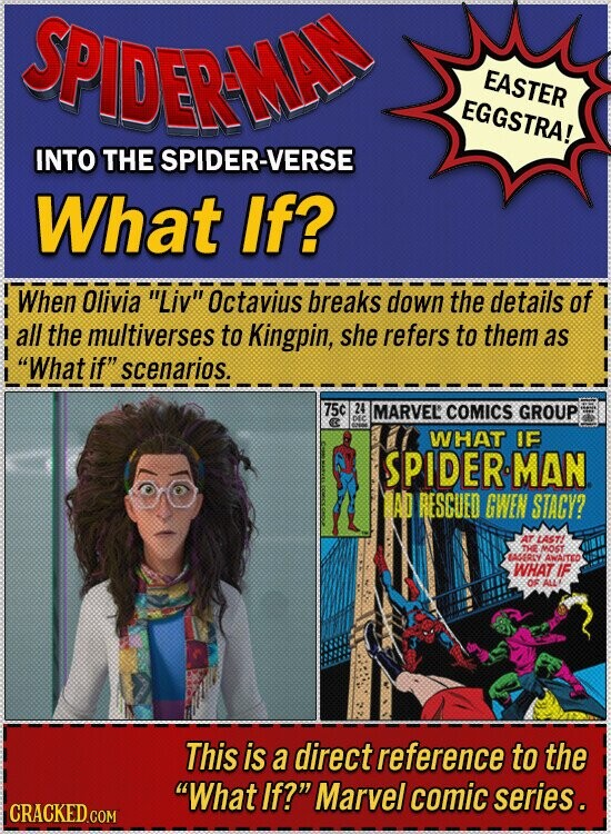 SPIDERMA EASTER EGGSTRA! INTO THE SPIDER-VERSE What If? When Olivia Liv Octavius breaks down the details of all the multiverses to Kingpin, she refers to them as What if scenarios. 75c 24 MARVEL COMICS GROUP WHAT IE SPIDERMAN AD BESCUED GWEN STACY? AT LAST THE MOST AGY AWA/TED WHAT IF