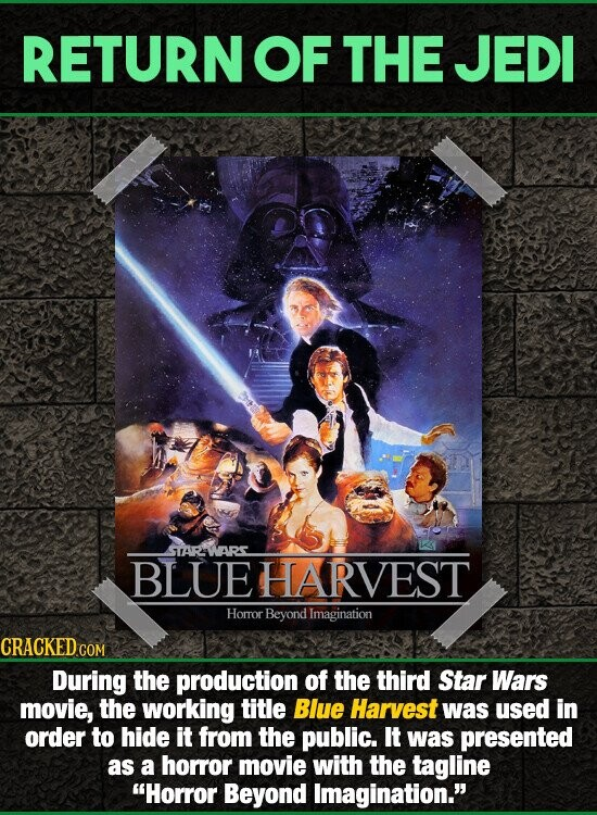 RETURNOF THE JEDI STTARINARS BLUE HARVEST Horor Beyond Imagination During the production of the third Star Wars movie, the working title Blue Harvest was used in order to hide it from the public. It was presented as a horror movie with the tagline Horror Beyond Imagination.