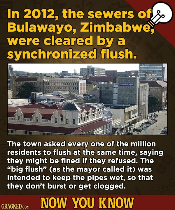 In 2012, the sewers of Bulawayo, Zimbabwe, were cleared by a synchronized flush. Sranbilo Baok The town asked every one of the million residents to flush at the same time, saying they might be fined if they refused. The big flush (as the mayor called it) was intended to keep