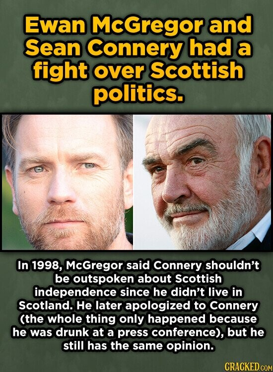 Ewan McGregor and Sean Connery had a fight over Scottish politics. In 1998, McGregor said Connery shouldn't be outspoken about Scottish independence since he didn't live in Scotland. He later apologized to Connery (the whole thing only happened because he was drunk at a press conference), but he still has