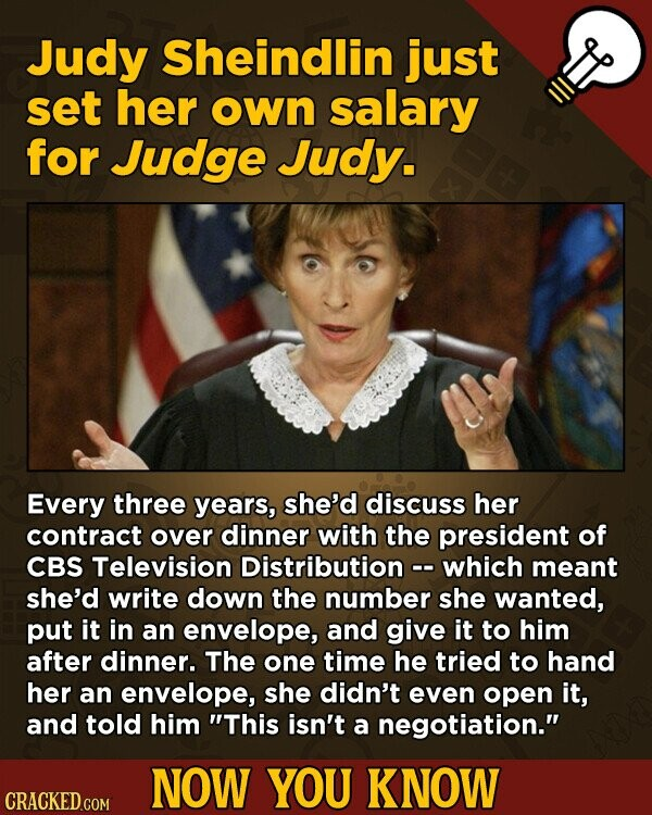 Judy Sheindlin just set her oWn salary for Judge Judy. Every three years, she'd discuss her contract over dinner with the president of CBS Television Distribution - which meant she'd write down the number she wanted, put it in an envelope, and give it to him after dinner. The one time