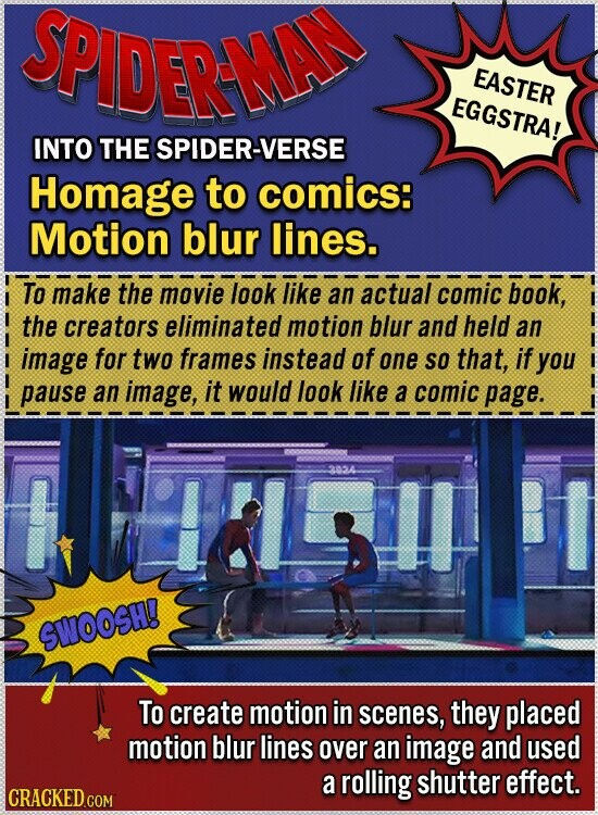 SPIDERNA EASTER EGGSTRA! INTO THE SPIDER-VERSE Homage to comics: Motion blur lines. To make the movie look like an actual comic book, the creators eliminated motion blur and held an image for two frames instead of one SO that, if you pause an image, it would look like a comic