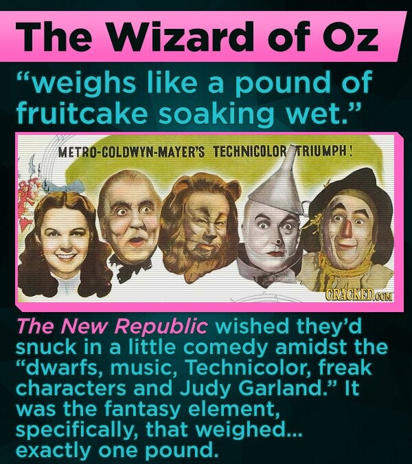 The Wizard of Oz weighs like a pound of fruitcake soaking wet. METRO-COLDWYN-MAYER'S TECHNICOLOR ARIUMPH! CRACKED CON The New Republic wished they'd snuck in a little comedy amidst the dwarfs, music, Technicolor, freak characters and Judy Garland. It was the fantasy element, specifically, that weighed... exactly one pound.