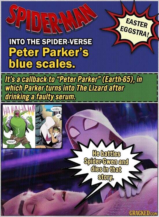 SPIDERAAD EASTER EGGSTRA! INTO THE SPIDER-VERSE Peter Parker's blue scales. It's a callback to Peter Parker (Earth-65), in which Parker turns into The Lizard after drinking a faulty serum. HA He battles Spider-Gwen and dies in that story. CRACKED COM