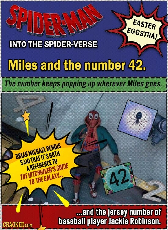 SPIDERME EASTER EGGSTRA! INTO THE SPIDER-VERSE Miles and the number 42. The number keeps popping up wherever Miles goes. BENDIS MICHAEL BRIAN THAT IT'S BOTH SAID AREFERENCETO GUIDE THE HITCHHIKER'S 42 TO THE GALAXY... ...and the jersey number of baseball player Jackie Robinson. CRACKED CON