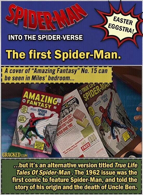 SPIDERAAD EASTER EGGSTRA! INTO THE SPIDER-VERSE The first Spider-Man. A cover of Amazing Fantasy No. 15 can be seen in Miles' bedroom... AMAZING TRUE SPIDER. 12 FANTASY GINET WT SPIDER MAN NARSARETE FREE CRACKED COM ...but it's an alternative version titled True Life Tales Of Spider-Man. The 1962 issue was