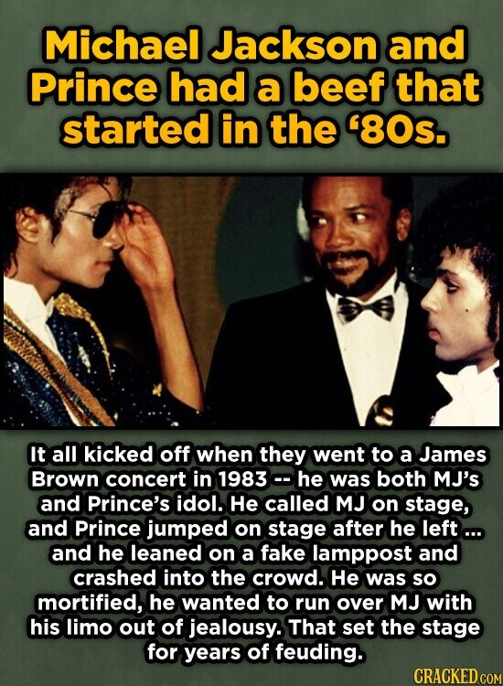 Michael Jackson and Prince had a beef that started in the '80s. It all kicked off when they went to a James Brown concert in 1983- he was both MJ's and Prince's idol. He called MJ on stage, and Prince jumped on stage after he left... and he leaned on