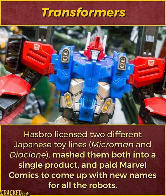Transformers I Hasbro licensed two different Japanese toy lines (Microman and Diaclone), mashed them both into a single product, and paid Marvel Comics to come up with new names for all the robots.