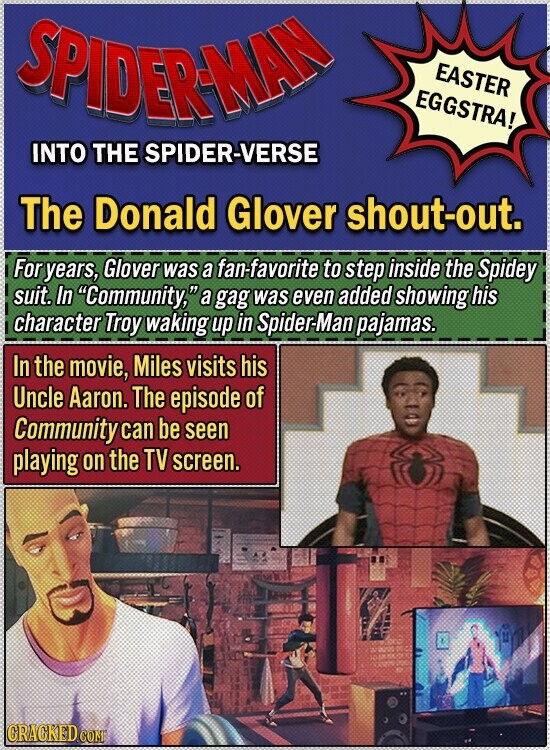 SPIDERMA EASTER EGGSTRA! INTO THE SPIDER-VERSE The Donald Glover shout-out. For years, Glover was a fan-favorite to step inside the Spidey suit. In Community, a gag was even added showing his character Troy waking up in Spider-Man pajamas. In the movie, Miles visits his Uncle Aaron. The episode of Community