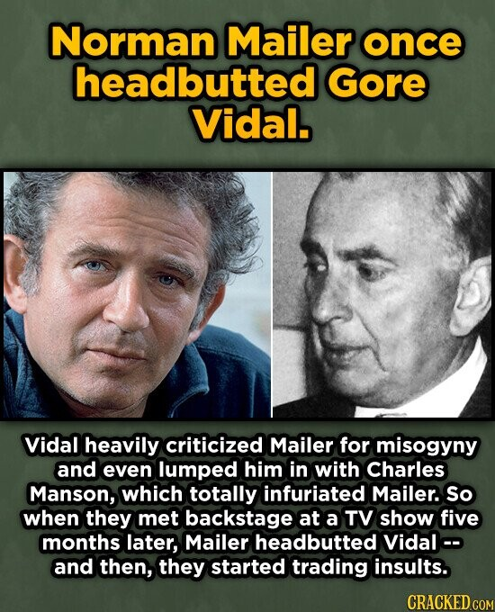 Norman Mailer once headbutted Gore Vidal. Vidal heavily criticized Mailer for misogyny and even lumped him in with Charles Manson, which totally infuriated Mailer. So when they met backstage at a TV show five months later, Mailer headbutted Vidalc- and then, they started trading insults.