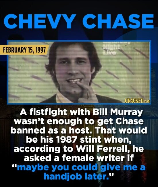 CHEVY CHASE Nnt FEBRUARY 15, 1997 CRAGKEDCOM A fistfight with Bill Murray wasn't enough to get Chase banned as a host. That would be his 1987 stint wh