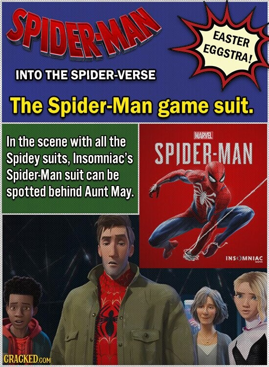 SPIDERMAN EASTER EGGSTRA! INTO THE SPIDER-VERSE The Spider-Man game suit. In the scene with all the MAR/EL SPIDER-MAN Spidey suits, Insomniac's Spider-Man suit can be spotted behind Aunt May. INSOMNIAC CRACKED.COM