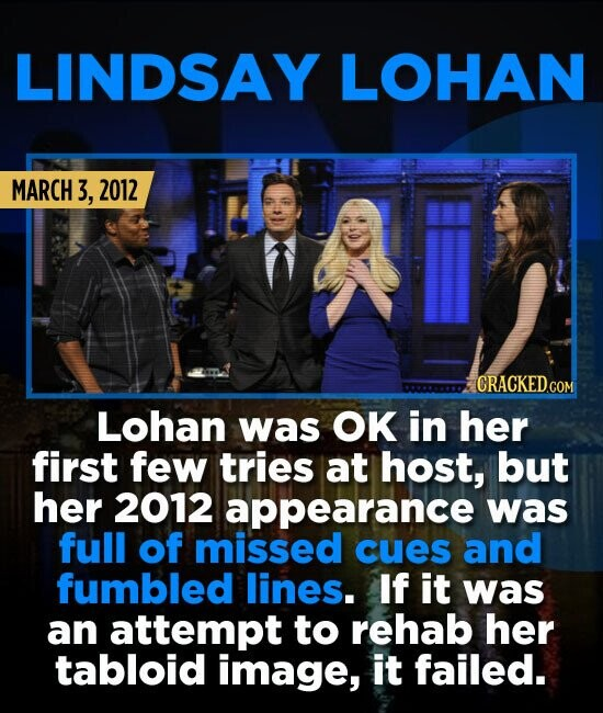 LINDSAY LOHAN MARCH 3, 2012 Lohan was OK in her first few tries at host, but her 2012 appearance was full of missed cues and fumbled lines. If it was
