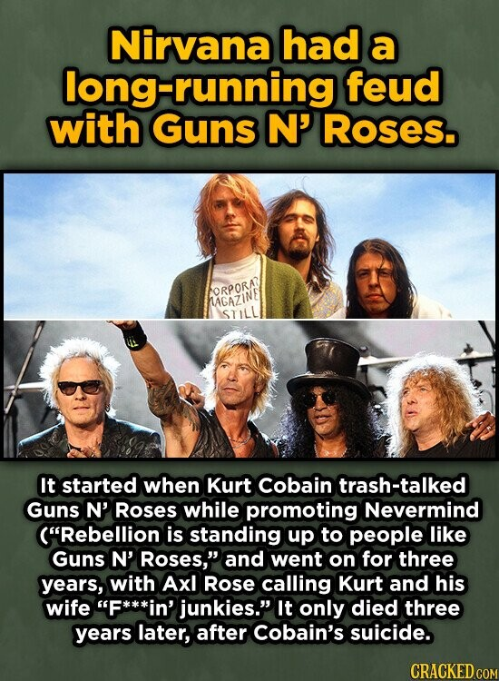 Nirvana had a long-running feud with Guns N' Roses. FORPORA HAGAZINE STILL It started when Kurt Cobain trash-talked Guns N' Roses while promoting Nevermind (Rebellion is standing up to people like Guns N' Roses, and went on for three years, with Ax Rose calling Kurt and his wife F in'