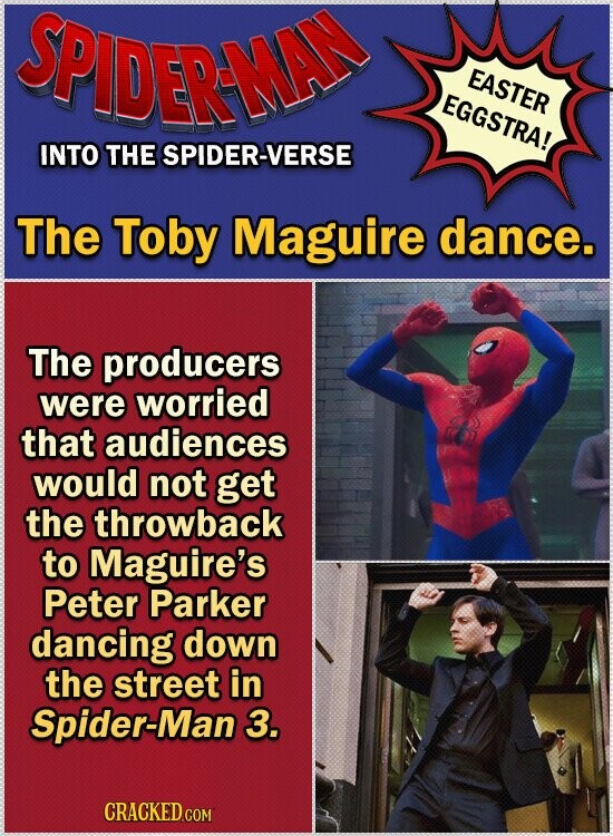 SPIDERAMEN EASTER EGGSTRA! INTO THE SPIDER-VERSE The Toby Maguire dance. The producers were worried that audiences would not get the throwback to Maguire's Peter Parker dancing down the street in Spider-Man 3. CRACKED COM
