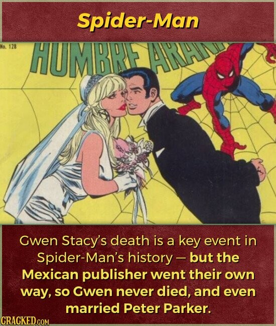 Spider-Man Mo. 128 HUMIBKE Gwen Stacy's death is a key event in Spider-Man's history but the Mexican publisher went their own way, so Gwen never died, and even married Peter Parker.