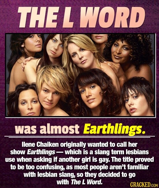 THEL WORD was almost Earthlings. llene Chaiken originally wanted to call her show Earthlings- which is a slang term lesbians use when asking if another girl is gay. The title proved to be too confusing, as most people aren't familiar with lesbian slang, so they decided to go with The