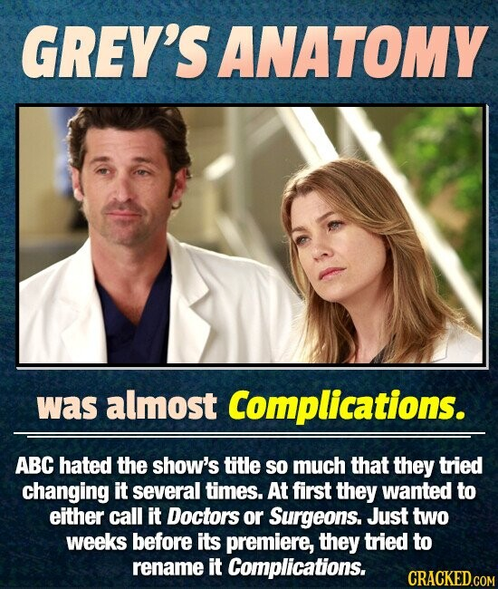 GREY'S ANATOMY was almost Complications. ABC hated the show's title so much that they tried changing it several times. At first they wanted to either call it Doctors or Surgeons. Just two weeks before its premiere, they tried to rename it Complications.