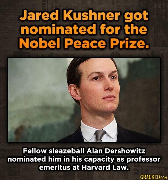 Jared Kushner got nominated for the Nobel Peace Prize. Fellow sleazeball Alan Dershowitz nominated him in his capacity as professor emeritus at Harvard Law.