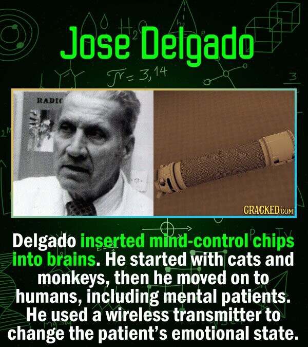 jose Delgado 14 RADIC CRACKED co Delgado inserted -control chips into brains. He started with cats and monkeys, then he moved on to humans, including