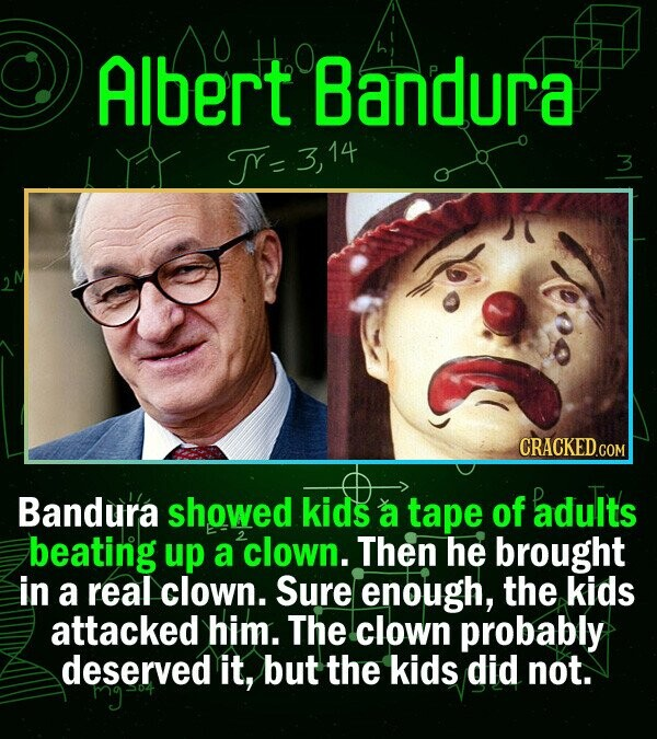 Albert Bandura TY- 14 3 CRACKEDC COM Bandura showed kids a tape of adults beating up a clown. Then he brought in a real clown. Sure enough, the kids a