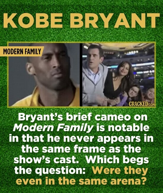 KOBE BRYANT MODERN FAMILY CRACKED COM Bryant's brief cameo on Modern Family is notable in that he never appears in the same frame as the show's cast.