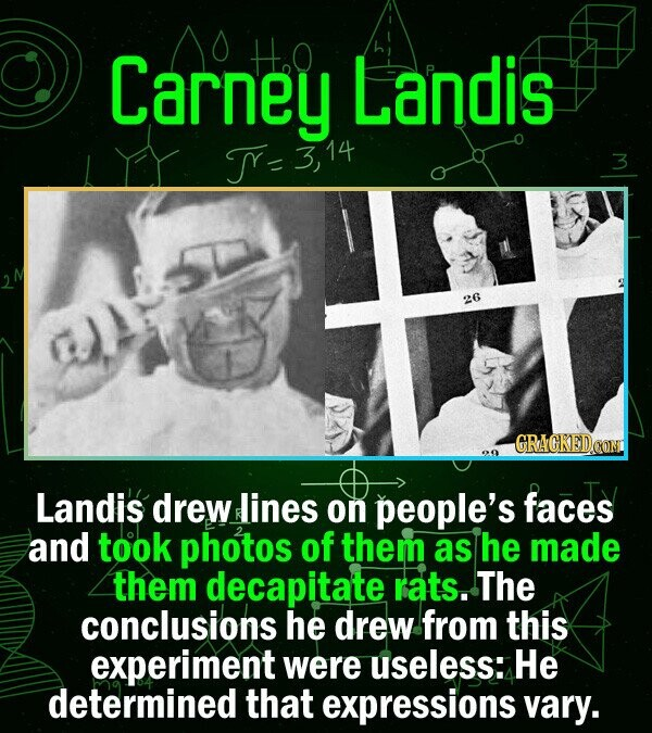 Carney HOO Landis = 3, 26 CRACKEDCON Landis drewlines on people's faces and took photos of them as he made them decapitate rats. The conclusions he dr