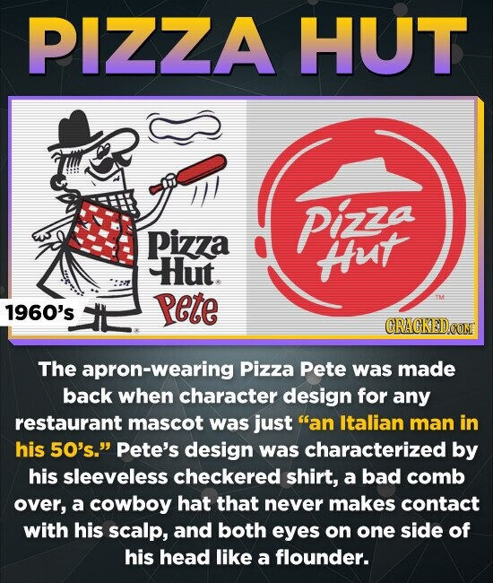 PIZZA HUT Pinza Pizza ut Hut. 1960's Pete CRACKEDOOM The apron-wearing Pizza Pete was made back when character design for any restaurant mascot was just an Italian man in his 50's. Pete's design was characterized by his sleeveless checkered shirt, a bad comb over, a cowboy hat that never makes