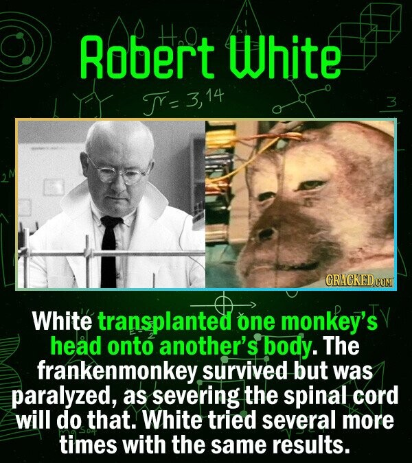 Robert Ha0 White T=  3,14 White transplanted one monkey's head onto another's body. The frankenmonkey survived but was paralyzed, as severing the spin