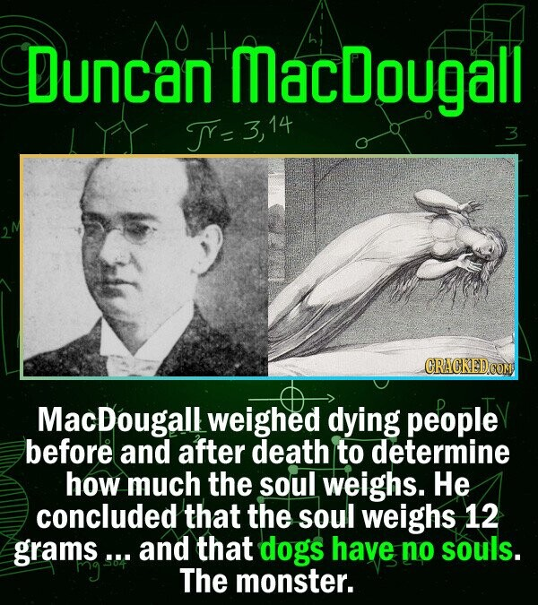 Duncan MacDougall T- 14 3 CRACKEDCO MacDougallweighed dying people before and after death to determine how much the soul weighs. He concluded that the