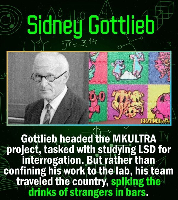 Sidney H,O Gottlieb T- CRACKED COM Gottlieb headed the MKULTRA Iy project, tasked with studying LSD for interrogation.. But rather than confining his