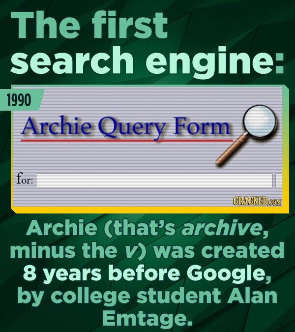 The first search engine: 1990 Archie Query Form for: CRACKED Archie (that's archive, minus the v) was created 8 years before Google, by college studen