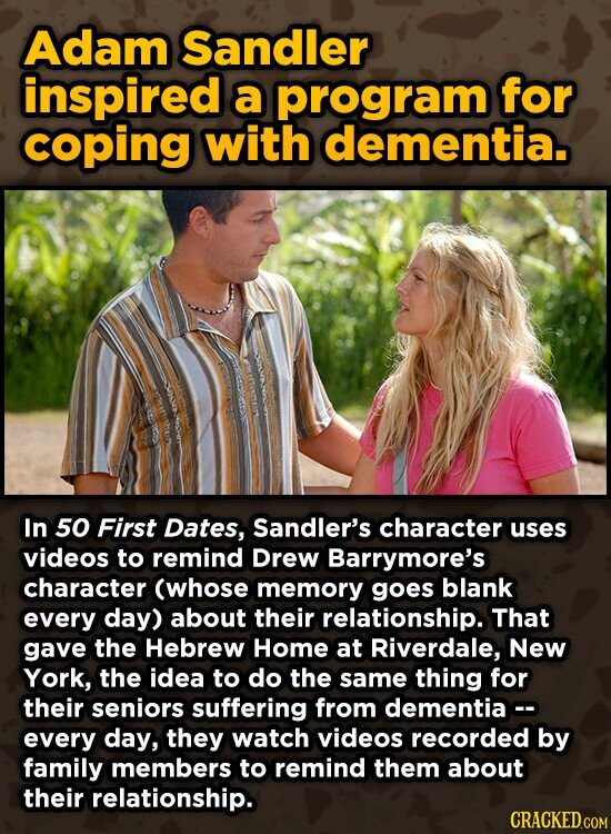 Adam Sandler inspired a program for coping with dementia. In 50 First Dates, Sandler's character uses videos to remind Drew Barrymore's character (whose memory goes blank every day) about their relationship. That gave the Hebrew Home at Riverdale, New York, the idea to do the same thing for their seniors