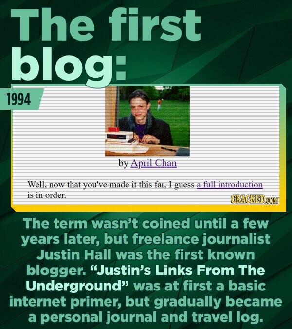 The first blog: 1994 by April Chan Well. now that you've made it this far. I guess a full introduction IS in order. CRACKED OON The term wasn't coined