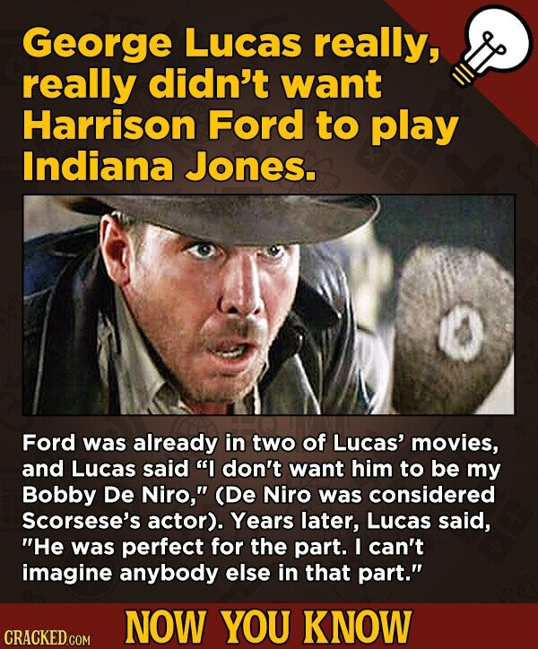 George Lucas really, really didn't want Harrison Ford to play Indiana Jones. Ford was already in two of Lucas' movies, and Lucas said I don't want him to be my Bobby De Niro, (De Niro was considered Scorsese's actor). Years later, Lucas said, He was perfect for the part. I