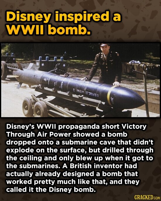Disney inspired a WWII bomb. AL ESR80 Disney's WWIl propaganda short Victory Through Air power showed a bomb dropped onto a submarine cave that didn't explode on the surface, but drilled through the ceiling and only blew up when it got to the submarines. A British inventor had actually