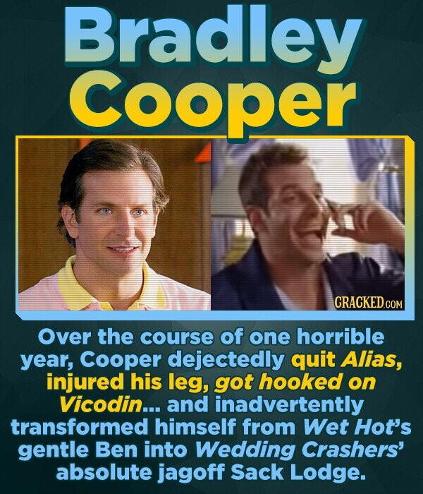 Bradley Cooper Over the course of one horrible year, Cooper dejectedly quit Alias, injured his leg, got hooked on Vicodin... and inadvertently transfo