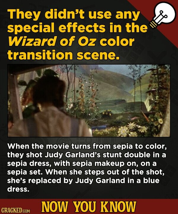 They didn't use any special effects in the Wizard of Oz color transition scene. When the movie turns from sepia to color, they shot Judy Garland's stunt double in a sepia dress, with sepia makeup on, on a sepia set. When she steps out of the shot, she's replaced by