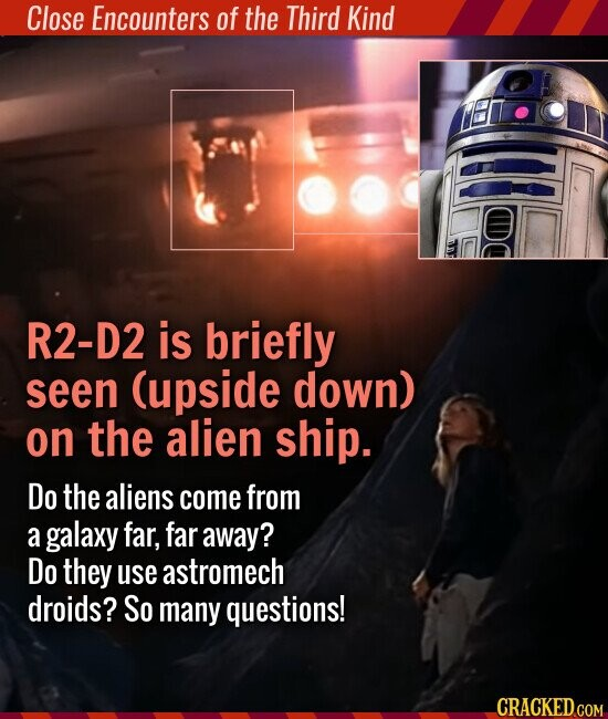 Close Encounters of the Third Kind R2-D2 is briefly seen (upside down) on the alien ship. Do the aliens come from a galaxy far, far away? Do they use astromech droids? So many questions!