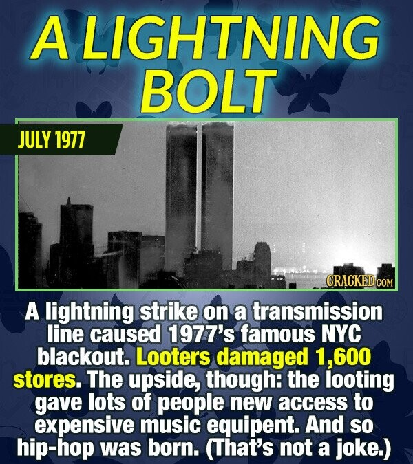 A LIGHTNING BOLT JULY 1977 CRACKED GO A lightning strike on a transmission line caused 1977's famous NYC blackout. Looters damaged .600 stores. The up