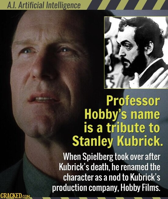 A.I. Artificial Intelligence Professor Hobby's name is a tribute to Stanley Kubrick. When Spielberg took over after Kubrick's death, he renamed the character as a nod to Kubrick's production company, Hobby Films.