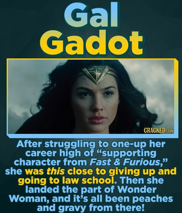 Gal Gadot CRACKED COM After struggling to one-up her career high of supporting character from Fast & Furious, she was this close to giving up and go