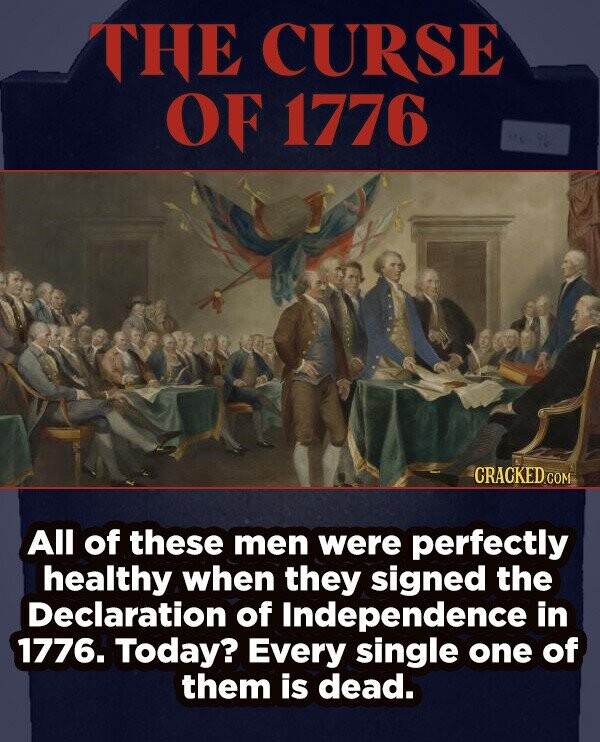 THE CURSE OF 1776 CRACKEDcO All of these men were perfectly healthy when they signed the Declaration of Independence in 1776. Today? Every single one of them is dead.