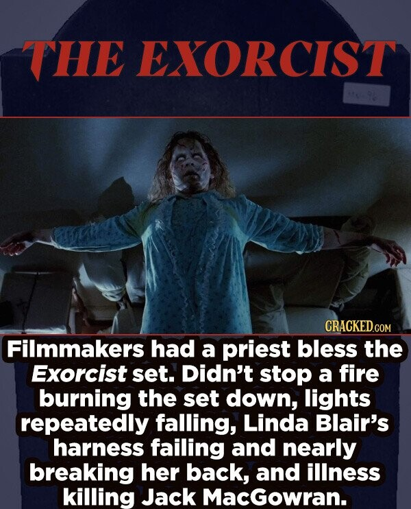 THE EXORCIST CRACKED.cO Filmmakers had a priest bless the Exorcist set. Didn't stop a fire burning the set down, lights repeatedly falling, Linda Blair's harness failing and nearly breaking her back, and illness killing Jack MacGowran.