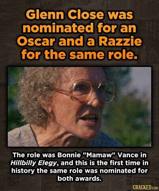 Glenn Close was nominated for an Oscar and a Razzie for the same role. The role was Bonnie Mamaw Vance in Hillbilly Elegy, and this is the first time in history the same role was nominated for both awards.
