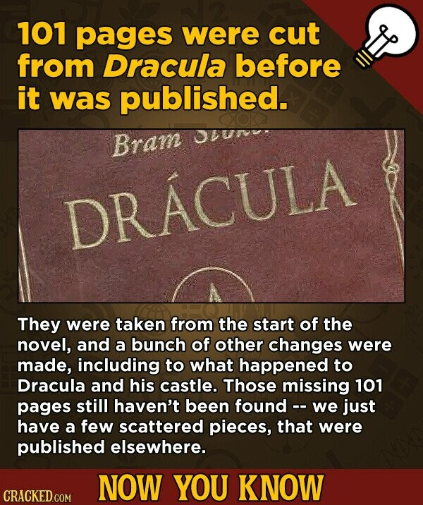101 pages were cut from Dracula before it was published. Jvun Bram DRACULA They were taken from the start of the novel, and a bunch of other changes were made, including to what happened to Dracula and his castle. Those missing 101 pages still haven't been found -. we just have
