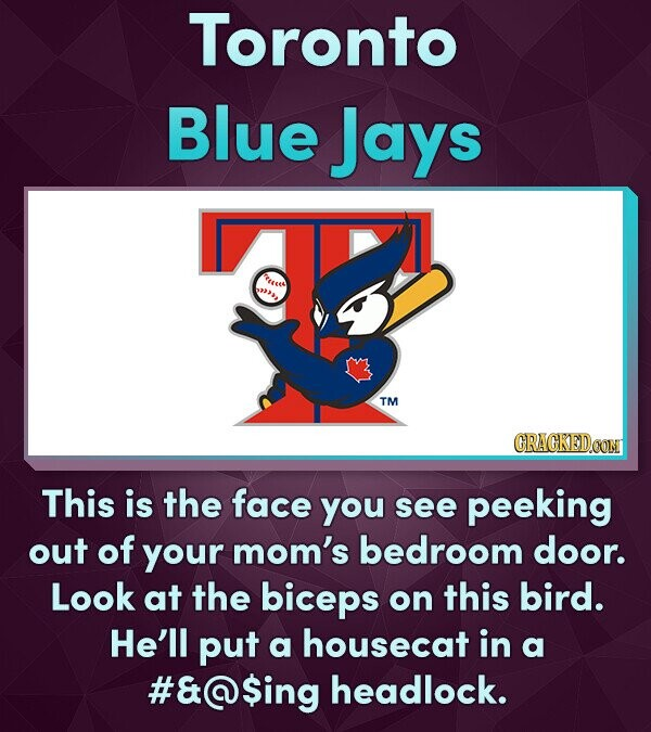 Toronto Blue Jays TEeses 22# TM This is the face you see peeking out of your mom's bedroom door. Look at the biceps on this birD. He'll put a housecat in a #&@$ing headlock.