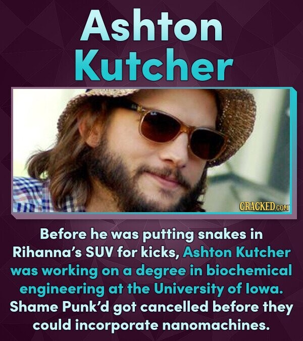 Ashton Kutcher CRACKED CON Before he was putting snakes in Rihanna's SUV for kicks, Ashton Kutcher was working on a degree in biochemical engineering